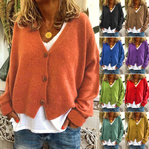 US Womens Long Sleeve V Neck Button Cardigan Casual Knitwear Sweater Coat Jacket Clothing, Shoes & Accessories
