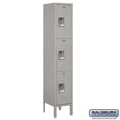 """Standard Metal Locker Triple Tier 1 Wide 5' High 12"""" Deep Gray 63152GY-U NEW"""
