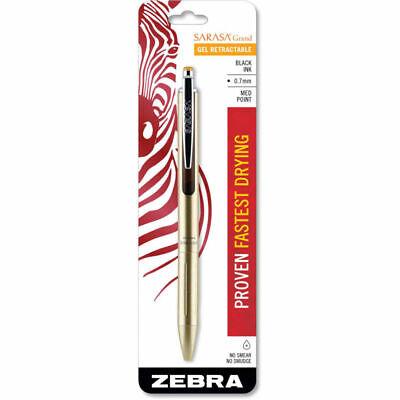 Zebra Sarasa Grand Retractable Gel Pen - Medium 0.7 Mm - Black Ink - Gold Barrel