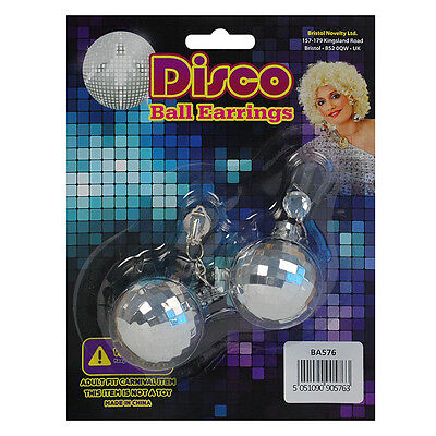 SILVER COLOUR DISCO BALLS #EARRINGS 70'S 80'S FANCY DRESS PARTY ACCESSORIES (70s Halloween Accessories)