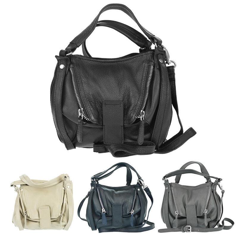 Handtasche Damen Leder schwarz Echtleder echtes Tasche Damentasche klein EDEL