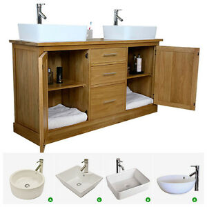Double Vanity Unit | Solid Oak Bathroom Cabinet Twin Ceramic Basin Sink Taps Set