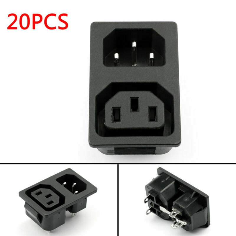 20x IEC320 C14 C13 3 Pin Screw Mount Male Female Power Socket DIY AC-02MF  UA