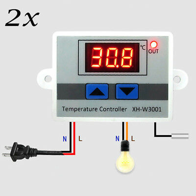 2 X 220V Digital Temperaturregler Thermostat LED Control Temperatur Regler Kit