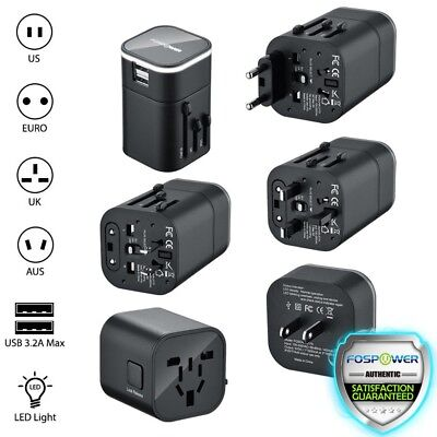 FosPower 16W Dual USB Port International World Travel Adapter Wall LED Charger
