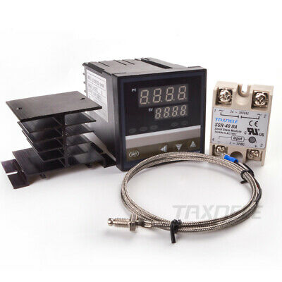 Digital Pid Temperature Controller Rex-c700 Ssr Relay 40a K Thermocouple Set