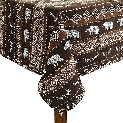 """Bear Trail Cabin Lodge Northwoods Antler Fabric Tablecloth  60"""" Round NEW"""