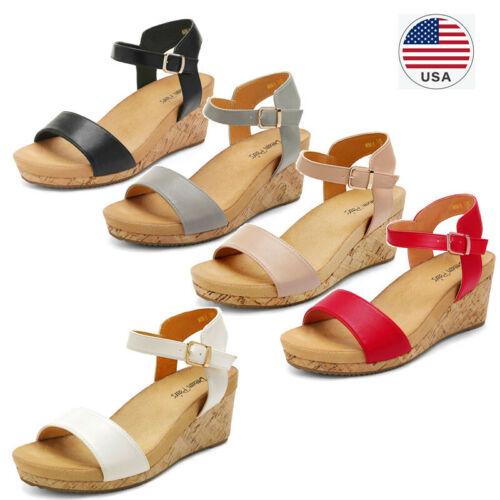 Women's Ankle Strap Buckle Open Toe Platform Wedge Sandals C