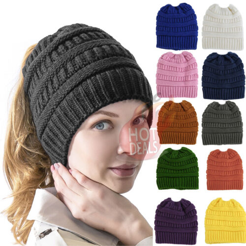 Women Messy Bun Hat Knit Ponytail Baggy Beanie Fleece Oversize Winter Ski Cap