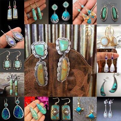 Boho 925 Silver Turquoise Dangle Drop Ear Hook Earrings Women Wedding Jewelry