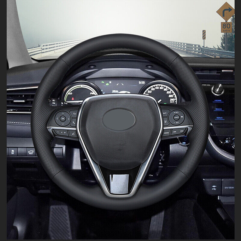 Black Red Genuine Leather Diy Car Steering Wheel Cover For