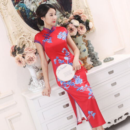 Купить Unbranded - New China Red Sexy women's silk/satin evening long Dress Ball Cheongsam m-3xl