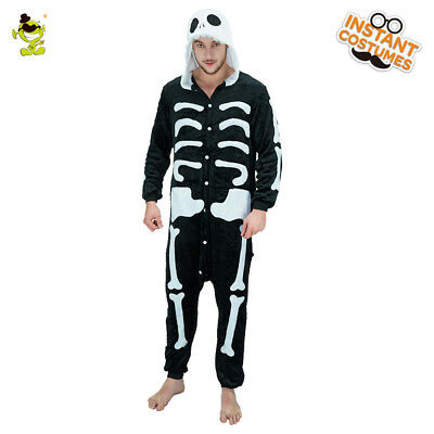 Adult Halloween skeleton Bone Sleepwear Horror Costume Fancy Jumpsuit for party