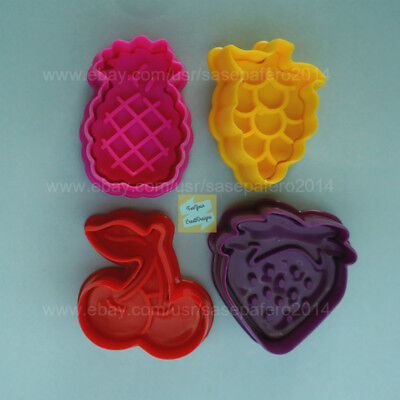 Strawberry Cookie Cutter (Fruits Pineapple, Cherries, Grapes, and strawberry Plunger Cookie Cutter 4)