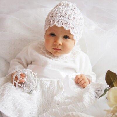 Eko Taufkleid für Mädchen Set Mütze und Strickkleid weiß