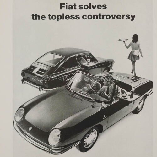 1967 Fiat 850 Spider Coupe Topless Woman classic car photo art decor vintage ad