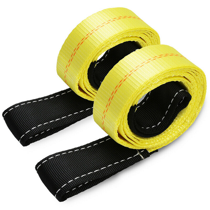 2 Pack 6ft x 2in Lifting Sling Straps with Heavy Duty Flat Loops 10,000Lbs Nylon