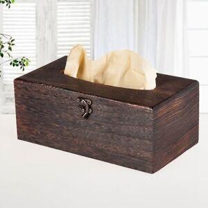 1PC  Wooden Retro Tissue Box Cover Paper Napkin Holder Case Home Car Decor NE8X