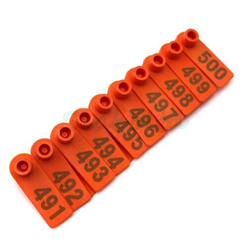 Orange Plastic 401-500 Number Animal Livestock Ear Tag Set For Goat Sheep Pig