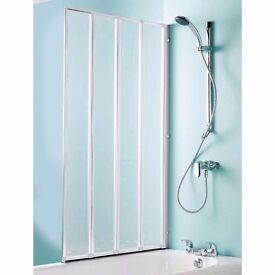 COOKE & LEWIS Nile Straight 4 Panel Folding Bath Screen (W) 840mm