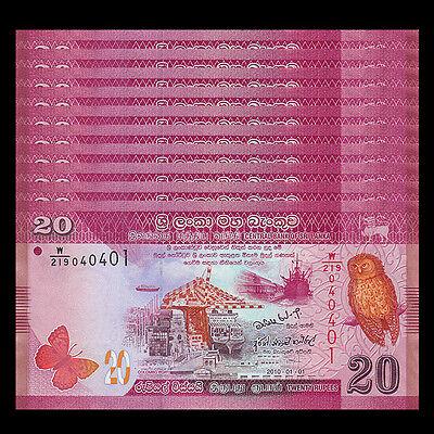 Lot 10 PCS, Sri Lanka 20 Rupees, 2010-2015, P-123, UNC