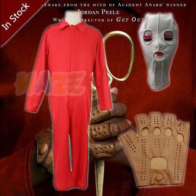Horrorfilm US Red Jumpsuit Uniform Cosplay Kostüm Maske Handschuhe Mann - Red Mann Kostüm