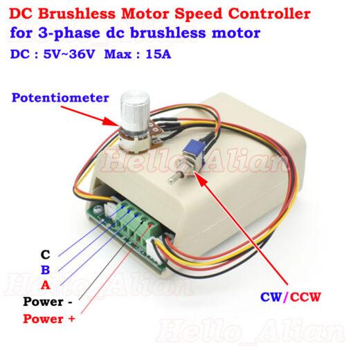 DC 5V 12V 24V 3-Phase Brushless Motor Speed Controller Driver CW CCW Reversible
