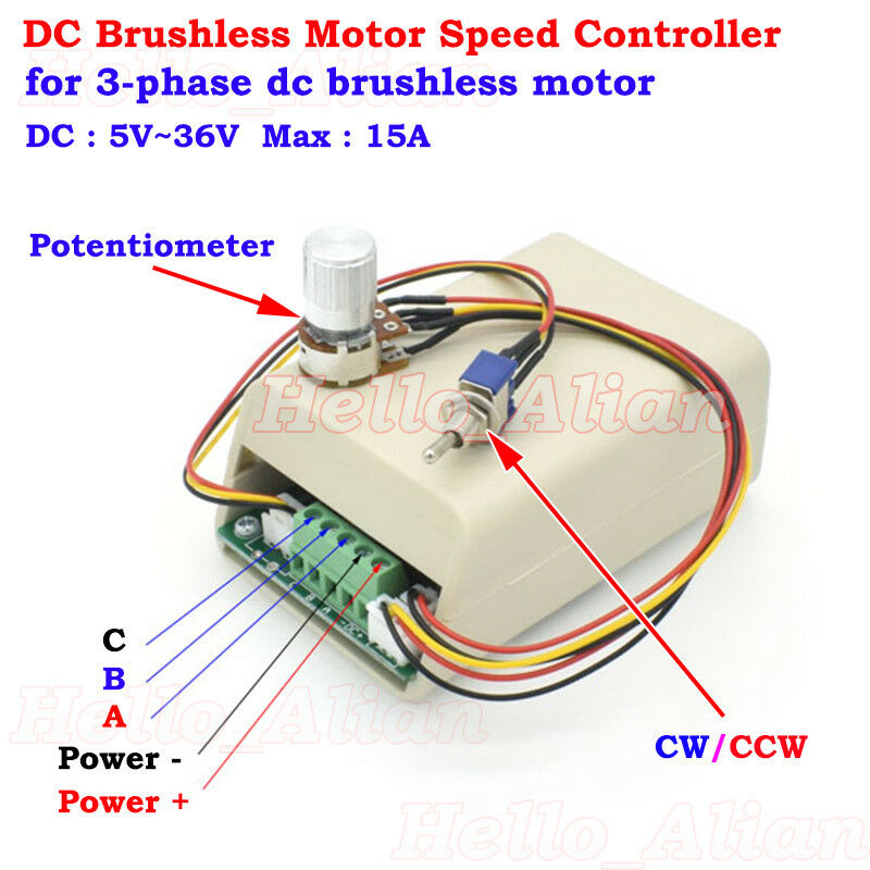 3-Phase Brushless Motor Speed Controller DC 5-36V 15A CW CCW 100K Knob Switch