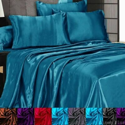 3 Pc Satin Silky Sheet Set Queen/King Size Fitted Pillow Cases 500TC (10 Colors) ()