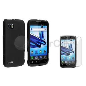 Black Rubbreized Hard Protector Case Cover+Guard For Motorola Atrix 2 MB865 AT&T