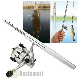 Mini-Aluminum-Portable-Pocket-Pen-Shape-Fishing-Fish-Rod-Pole-Reel-Silver-US