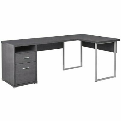 Monarch L Shaped Corner Computer Desk in Gray Gray Computer Furniture