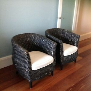 2 Wicker Cane Indoor Outdoor tub armchairs *like DOMAYNE * Paddington Eastern Suburbs Preview