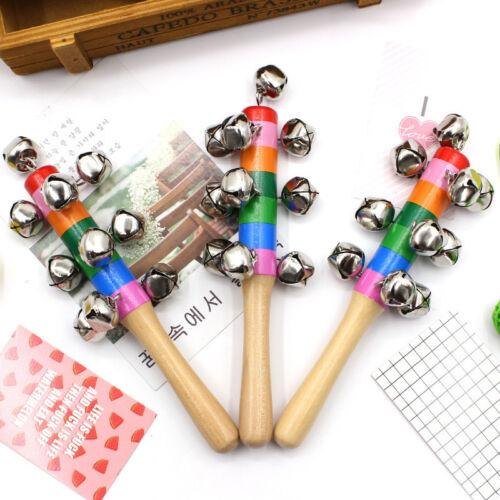 Baby Kids Wooden Handle Bells Jingle Stick Shaker Sensory Rattle Toys YU