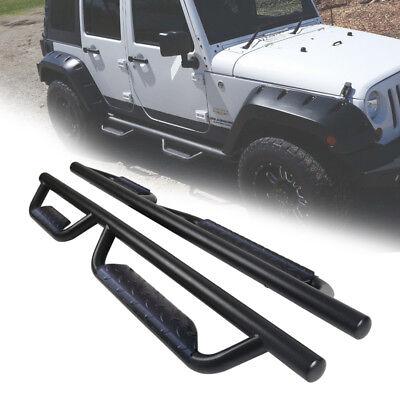 For 07 18 Jeep Wrangler 4 Door 3  Running Boards Nerf Bar Side Step Black B