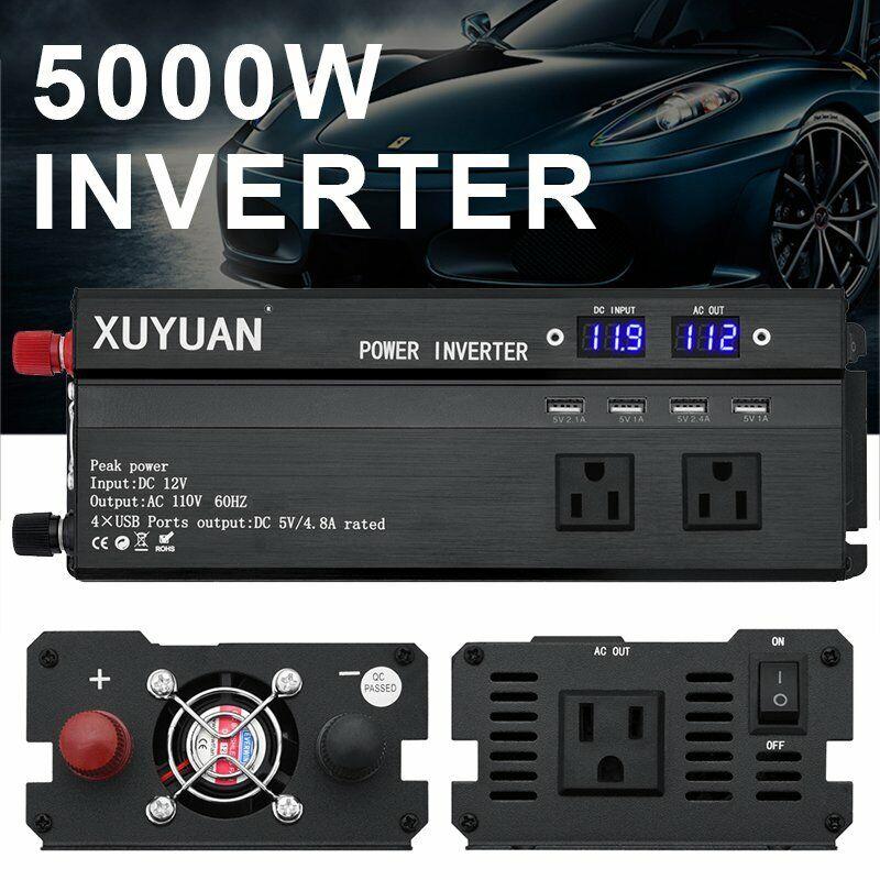 5000W/4000W/3000W Vehicle Car Power Inverter Watt DC 12V to AC 110V Converter