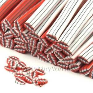 3x-hecho-a-mano-rojos-Hoja-Bastones-Arte-Unas-cnc23