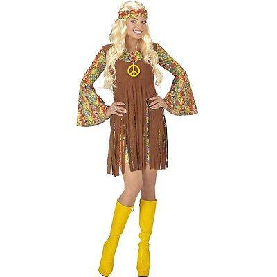 Hippie Girl Gr. XL (46/48) Flower Power 70er 60er Jahre Damen Kostüm (60er Hippie Girl Kostüm)