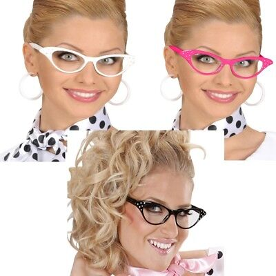 FIFTIES CAT EYE BRILLE MIT STRASS Partybrille zum 50er 60er Jahre Retro Kostüm