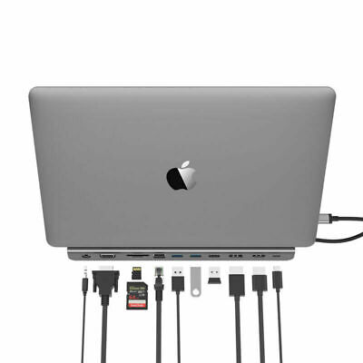 LENTION USB C 3.0 Hub Docking Station HDMI RJ45 Aux Adapter for Dell hp Macbook