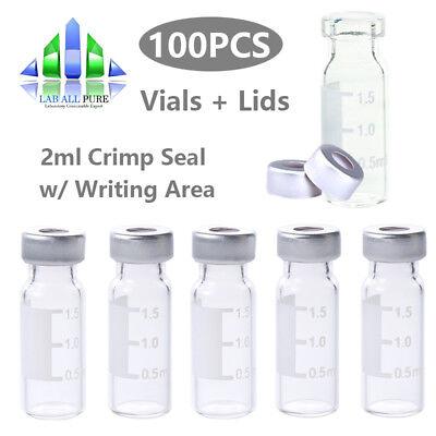 100pcs 2ml Clear Glass Sample Vial Vialscaps Crimp Top Aluminum Lids Crimp Seal