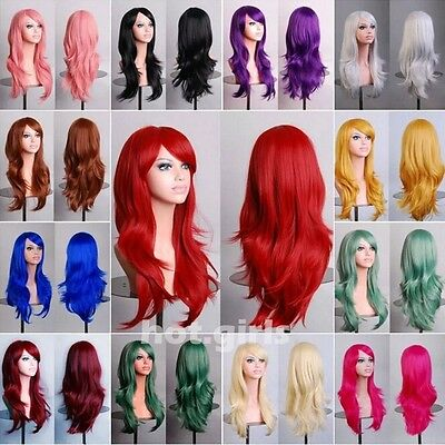 Fahion Full Wig Real Heat Resistant Wavy Hair Wigs Cosplay Wigs Halloween red - Red Wig Halloween