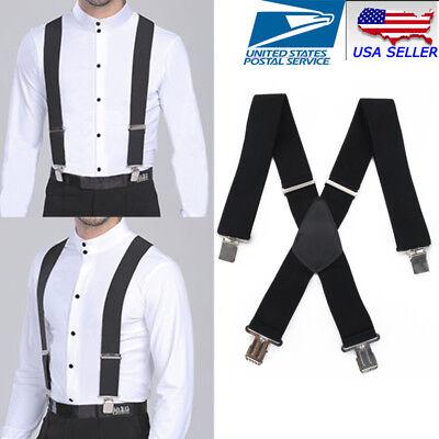 Men/'s Braces Suspenders Black 35mm X Back Heavy Duty Biker Snowboard Trousers