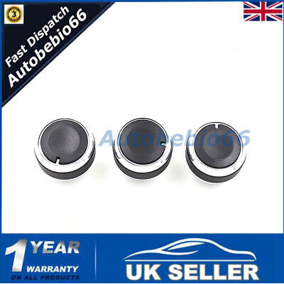 3PCS For Ford Focus 2005-2012 Aluminum Alloy Car Air Conditioning AC Switch Knob