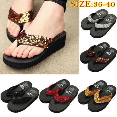 Summer Women Sequin Wedge Platform Thong Flip Flops Sandals Beach Slippers Shoes Wedge Women Flip Flops