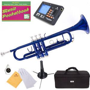 Mendini-Bb-Trumpet-Blue-Lacquered-Student-Band-Tuner-Case-CareKit-MTT-BL