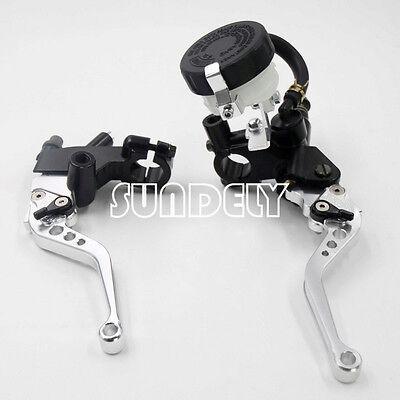 7/8'' Silver motorcycle Brake short Levers Master Cylinder Reservoir Universal