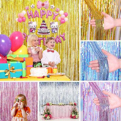 Metallfolie Laser Fringe Vorhang Lametta Geburtstag Party Dekor Hochzeit Zubehör