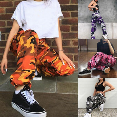 Hip Hop Womens Army Camouflage Jogger Bottoms Pink Camo Jogging Trousers Cargo Hop Pink Camo
