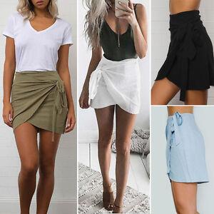 Moderno-Mujer-Informal-De-cintura-alta-Linea-A-Vestido-cenido-mini-corto-falda